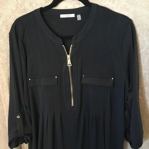 Black, gold zipper detail tunic.
